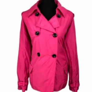 Chicos hot pink Trench coat size 1 EUC